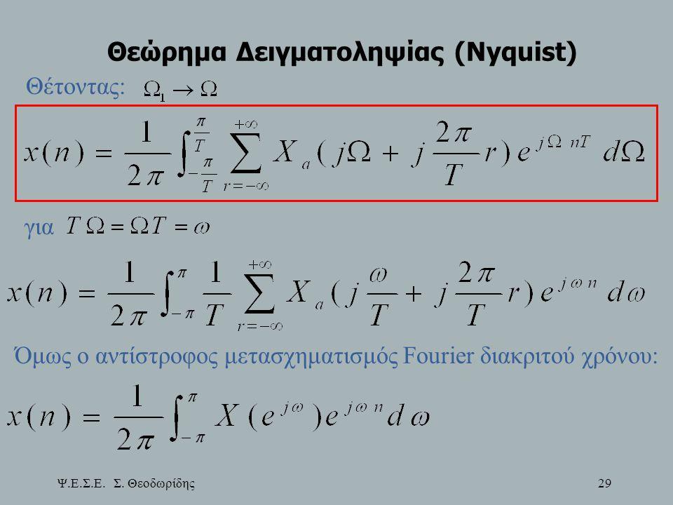 Ψ.Ε.Σ.Ε. Σ. Θεοδωρίδης 29 Θεώρημα Δειγματοληψίας (Nyquist) Θέτοντας: για Όμως ο αντίστροφος μετασχηματισμός Fourier διακριτού χρόνου: