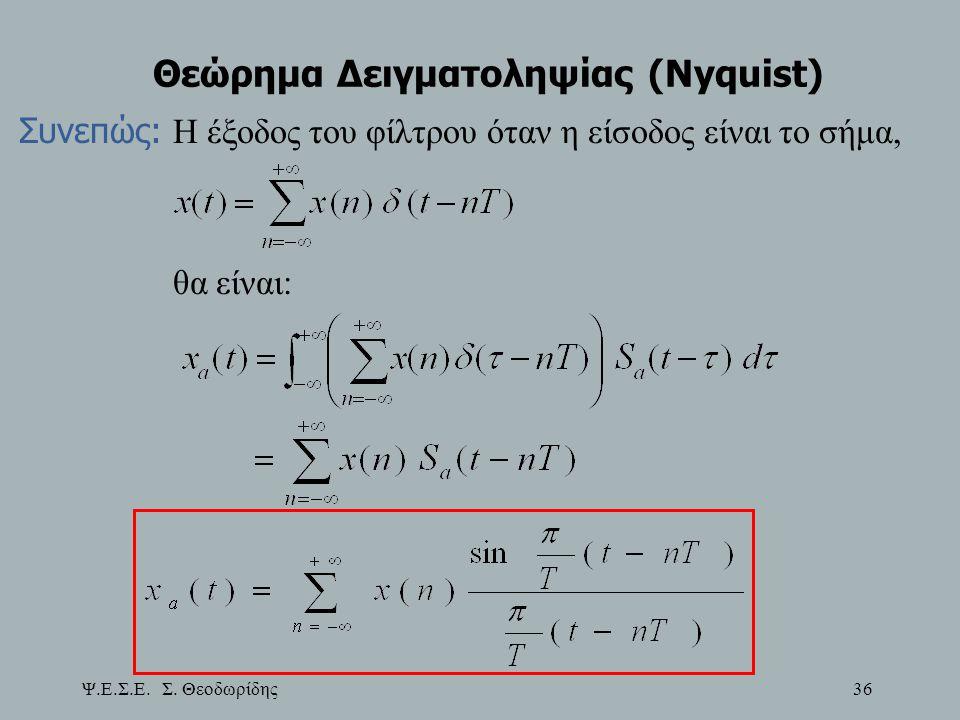 Ψ.Ε.Σ.Ε. Σ. Θεοδωρίδης 36 Θεώρημα Δειγματοληψίας (Nyquist) Συνεπώς: Η έξοδος του φίλτρου όταν η είσοδος είναι το σήμα, θα είναι: