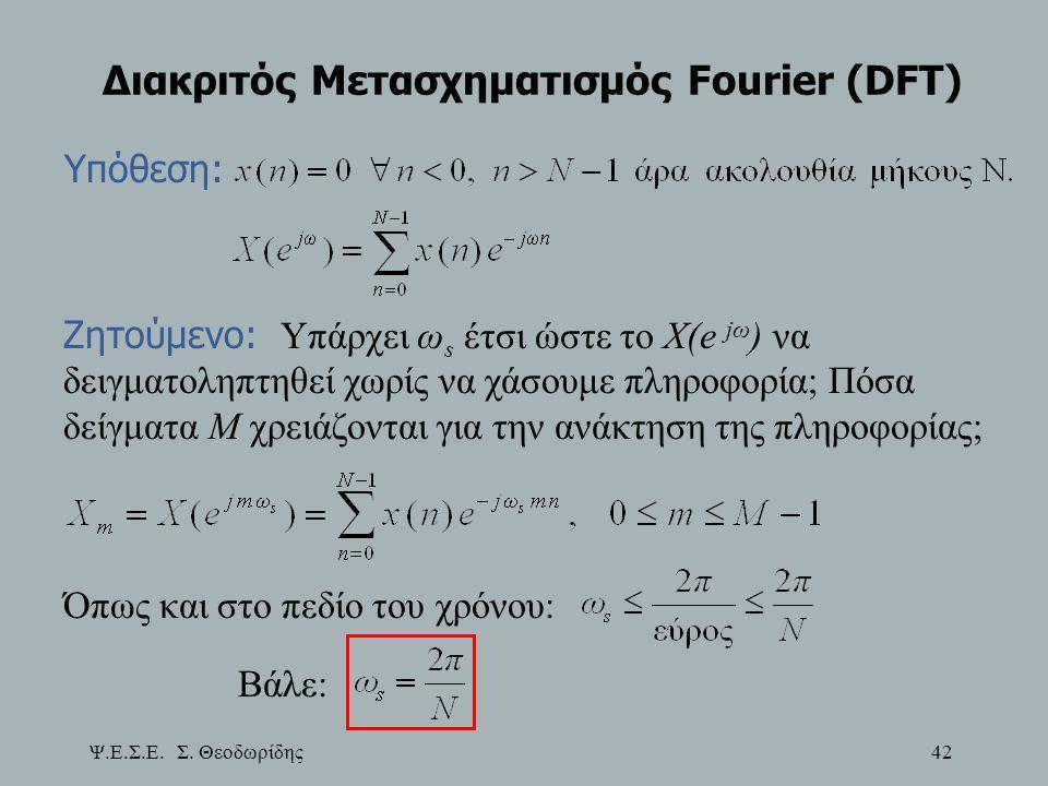 Ψ.Ε.Σ.Ε. Σ. Θεοδωρίδης 42 Διακριτός Μετασχηματισμός Fourier (DFT) Υπόθεση: Ζητούμενο: Υπάρχει ω s έτσι ώστε το X(e jω ) να δειγματοληπτηθεί χωρίς να χ
