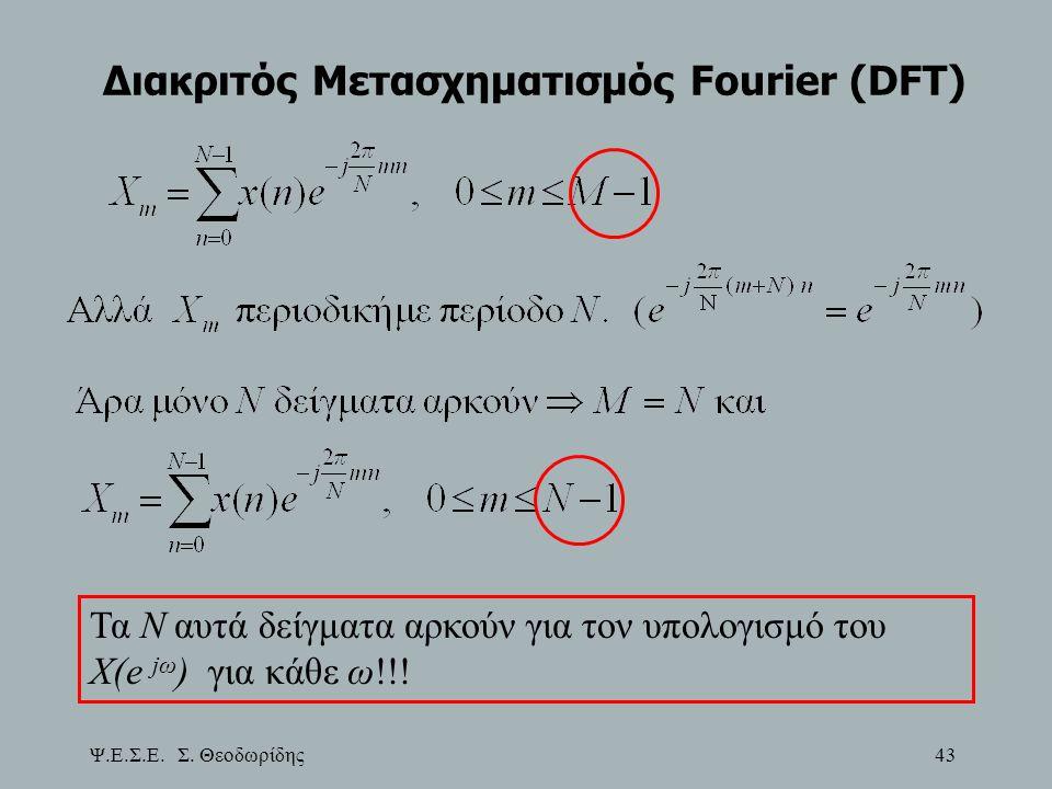 Ψ.Ε.Σ.Ε. Σ. Θεοδωρίδης 43 Διακριτός Μετασχηματισμός Fourier (DFT) Τα Ν αυτά δείγματα αρκούν για τον υπολογισμό του X(e jω ) για κάθε ω!!!