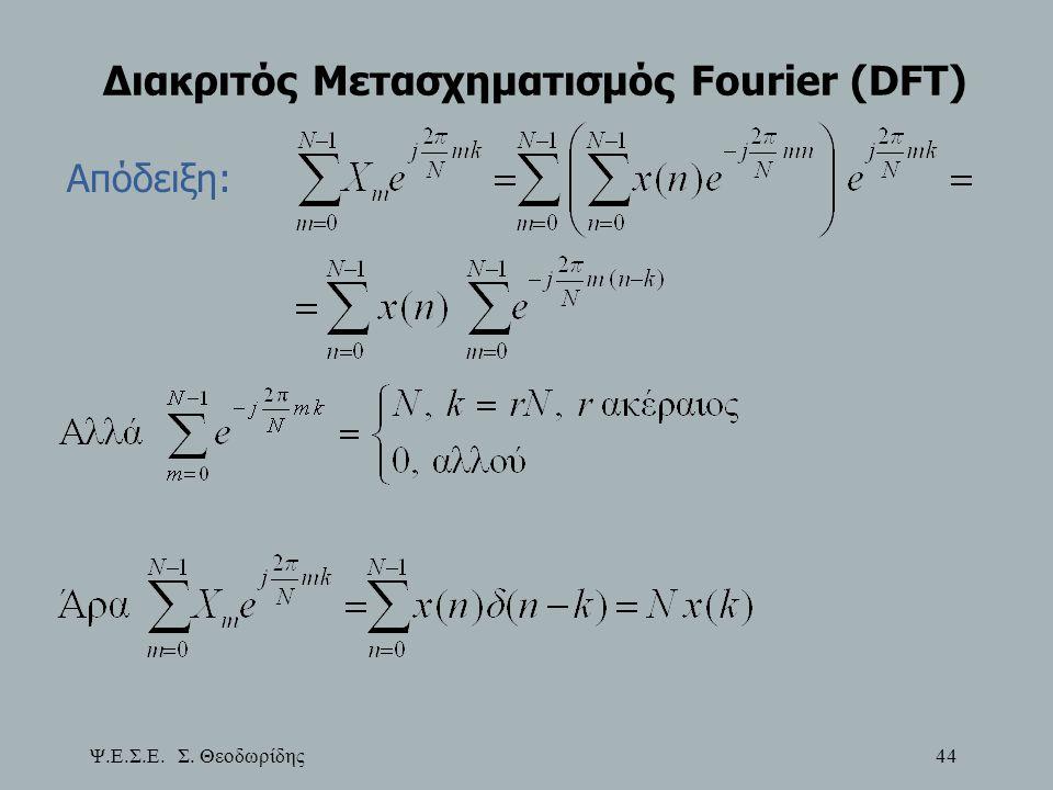 Ψ.Ε.Σ.Ε. Σ. Θεοδωρίδης 44 Διακριτός Μετασχηματισμός Fourier (DFT) Απόδειξη: