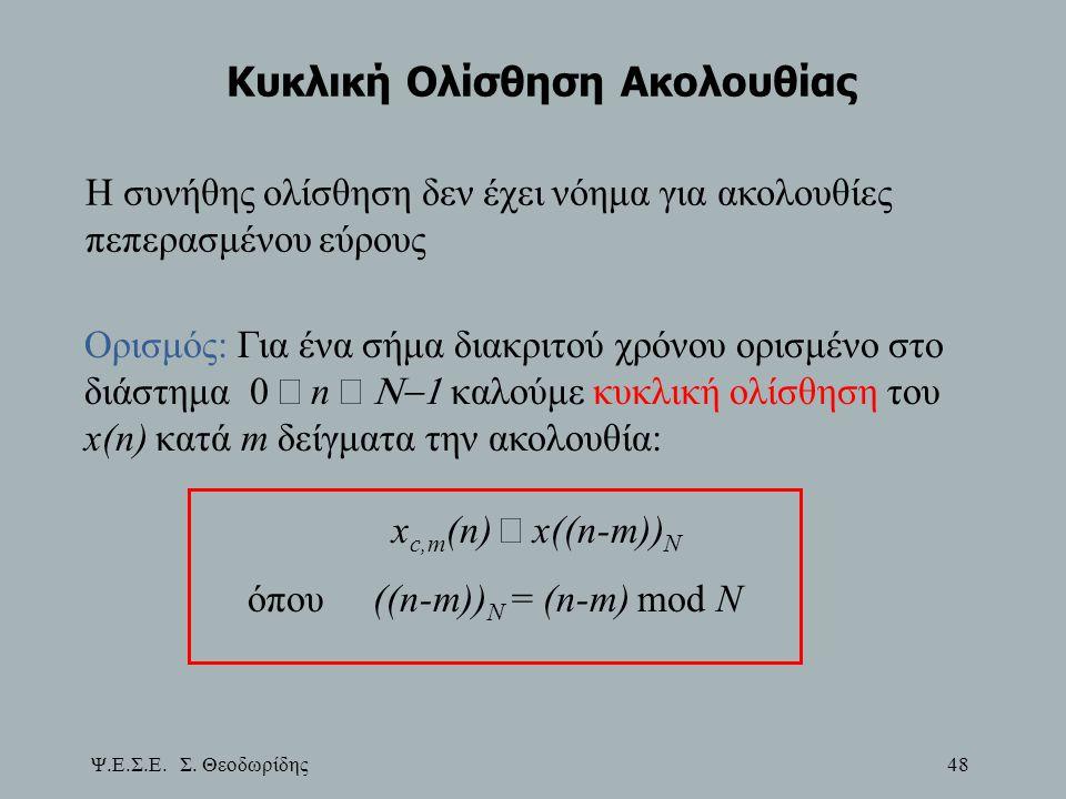 Ψ.Ε.Σ.Ε. Σ. Θεοδωρίδης 48 Κυκλική Ολίσθηση Ακολουθίας Η συνήθης ολίσθηση δεν έχει νόημα για ακολουθίες πεπερασμένου εύρους Ορισμός: Για ένα σήμα διακρ