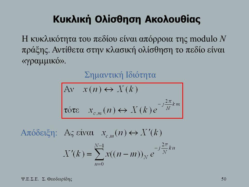 Ψ.Ε.Σ.Ε. Σ. Θεοδωρίδης 50 Κυκλική Ολίσθηση Ακολουθίας Η κυκλικότητα του πεδίου είναι απόρροια της modulo Ν πράξης. Αντίθετα στην κλασική ολίσθηση το π