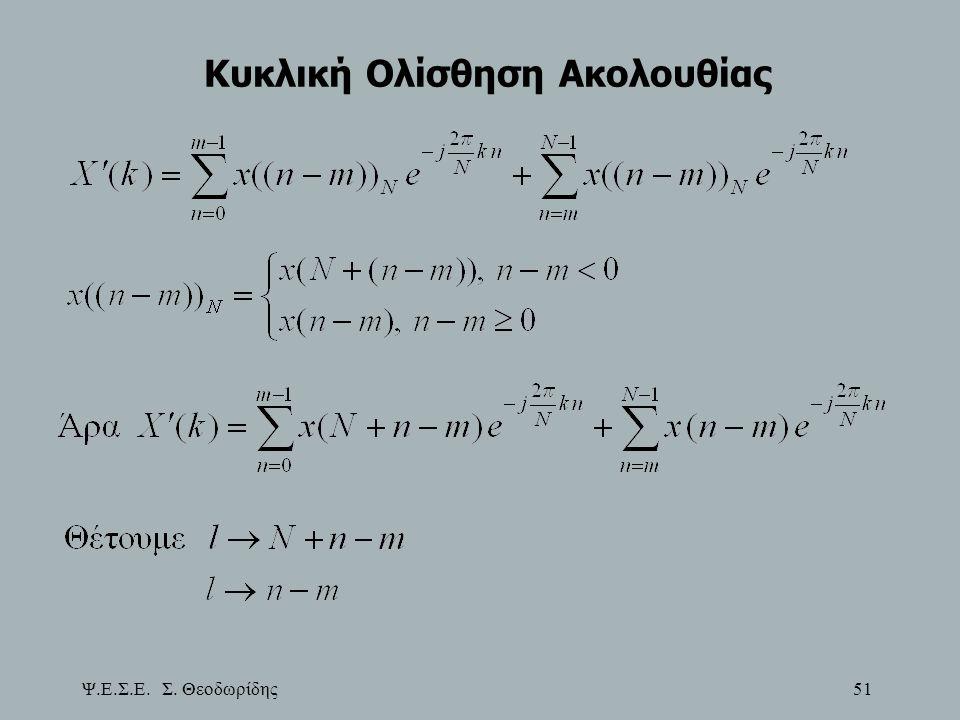 Ψ.Ε.Σ.Ε. Σ. Θεοδωρίδης 51 Κυκλική Ολίσθηση Ακολουθίας