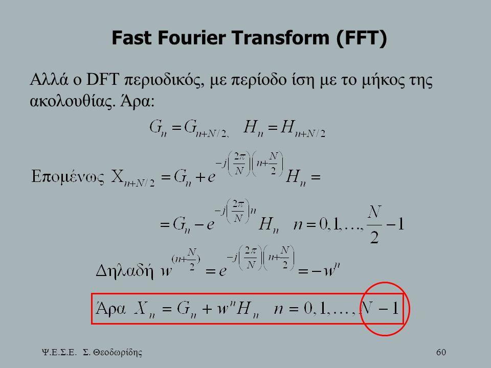 Ψ.Ε.Σ.Ε. Σ. Θεοδωρίδης 60 Fast Fourier Transform (FFT) Αλλά ο DFT περιοδικός, με περίοδο ίση με το μήκος της ακολουθίας. Άρα: