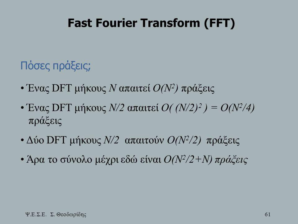 Ψ.Ε.Σ.Ε. Σ. Θεοδωρίδης 61 Fast Fourier Transform (FFT) Πόσες πράξεις; Ένας DFT μήκους Ν απαιτεί Ο(Ν 2 ) πράξεις Ένας DFT μήκους Ν/2 απαιτεί Ο( (Ν/2) 2