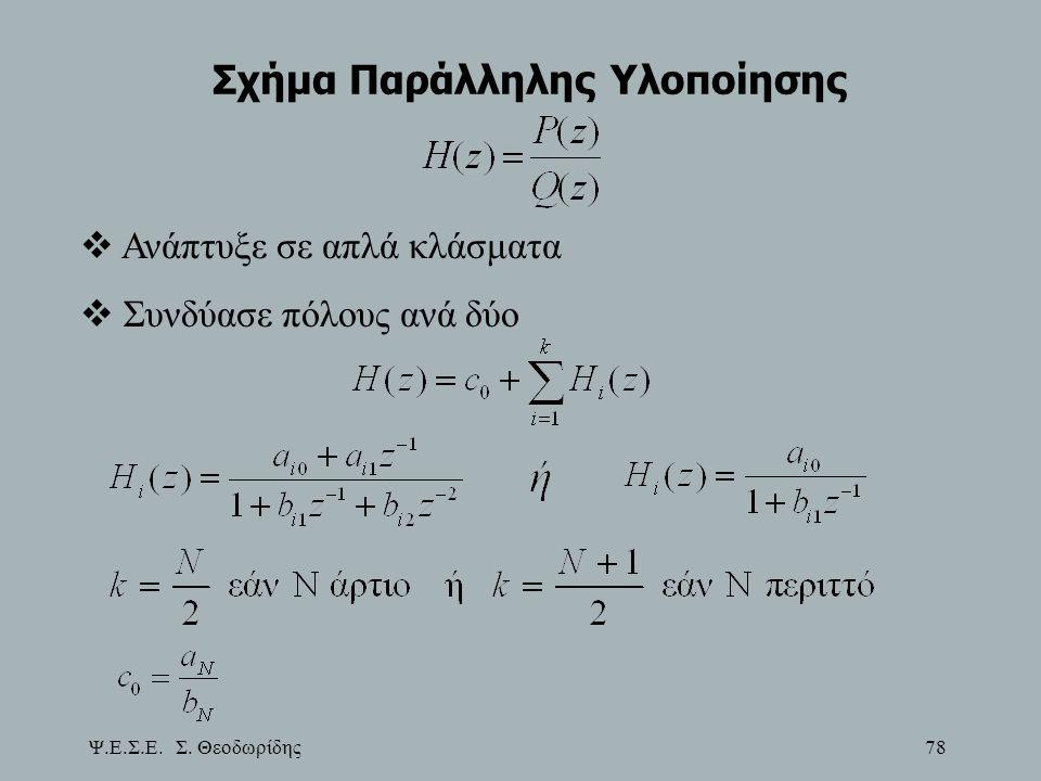 Ψ.Ε.Σ.Ε. Σ. Θεοδωρίδης 78 Σχήμα Παράλληλης Υλοποίησης  Ανάπτυξε σε απλά κλάσματα  Συνδύασε πόλους ανά δύο