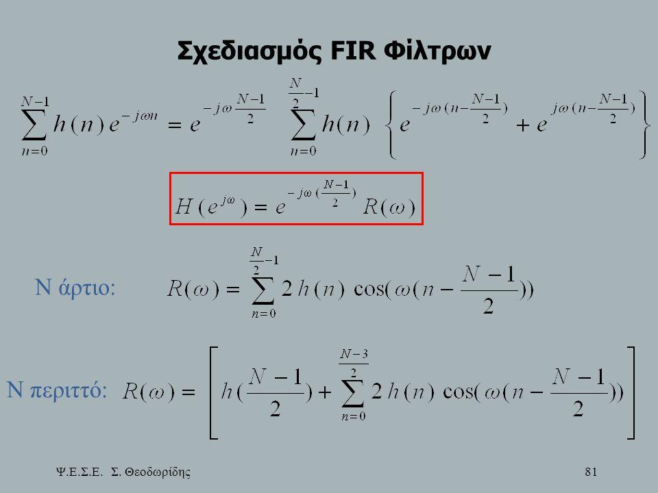 Ψ.Ε.Σ.Ε. Σ. Θεοδωρίδης 81 Σχεδιασμός FIR Φίλτρων Ν άρτιο: Ν περιττό: