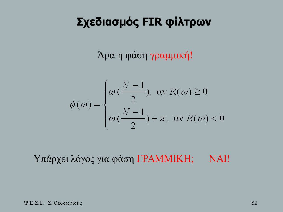 Ψ.Ε.Σ.Ε. Σ. Θεοδωρίδης 82 Σχεδιασμός FIR φίλτρων Άρα η φάση γραμμική! Υπάρχει λόγος για φάση ΓΡΑΜΜΙΚΗ;ΝΑΙ!