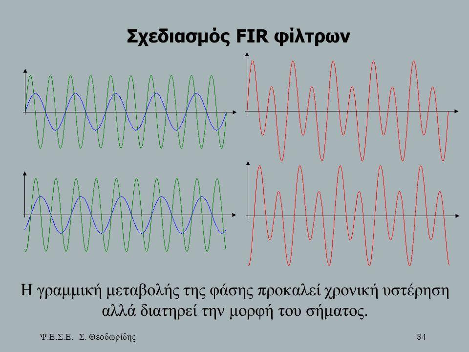 Ψ.Ε.Σ.Ε. Σ. Θεοδωρίδης 84 Σχεδιασμός FIR φίλτρων Η γραμμική μεταβολής της φάσης προκαλεί χρονική υστέρηση αλλά διατηρεί την μορφή του σήματος.
