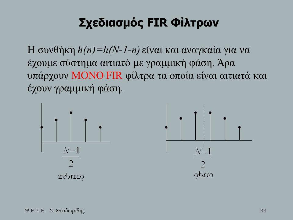 Ψ.Ε.Σ.Ε. Σ. Θεοδωρίδης 88 Σχεδιασμός FIR Φίλτρων Η συνθήκη h(n)=h(N-1-n) είναι και αναγκαία για να έχουμε σύστημα αιτιατό με γραμμική φάση. Άρα υπάρχο