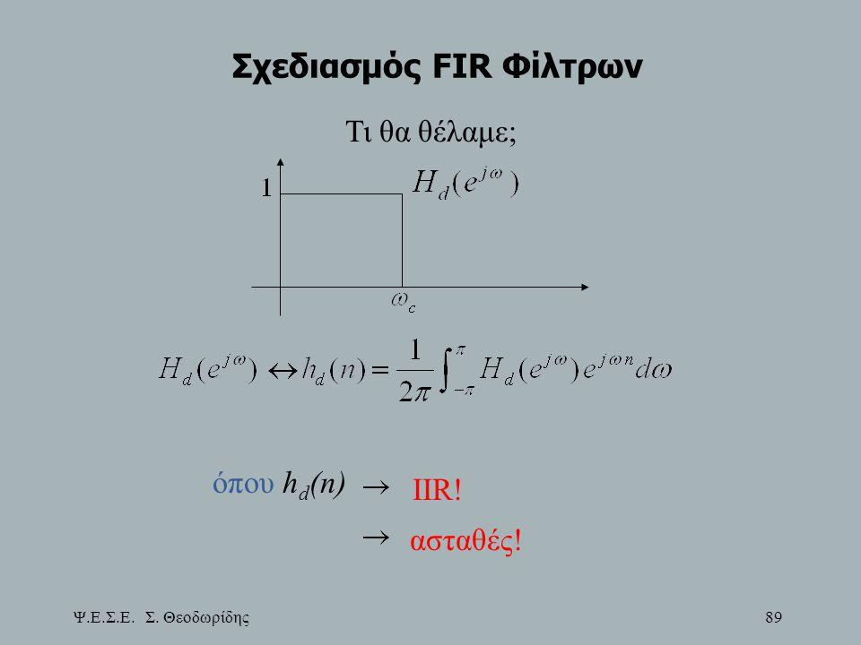 Ψ.Ε.Σ.Ε. Σ. Θεοδωρίδης 89 Σχεδιασμός FIR Φίλτρων Τι θα θέλαμε; όπου h d (n) IIR! ασταθές!