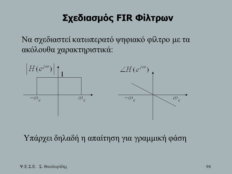 Ψ.Ε.Σ.Ε. Σ. Θεοδωρίδης 96 Σχεδιασμός FIR Φίλτρων Να σχεδιαστεί κατωπερατό ψηφιακό φίλτρο με τα ακόλουθα χαρακτηριστικά: Υπάρχει δηλαδή η απαίτηση για