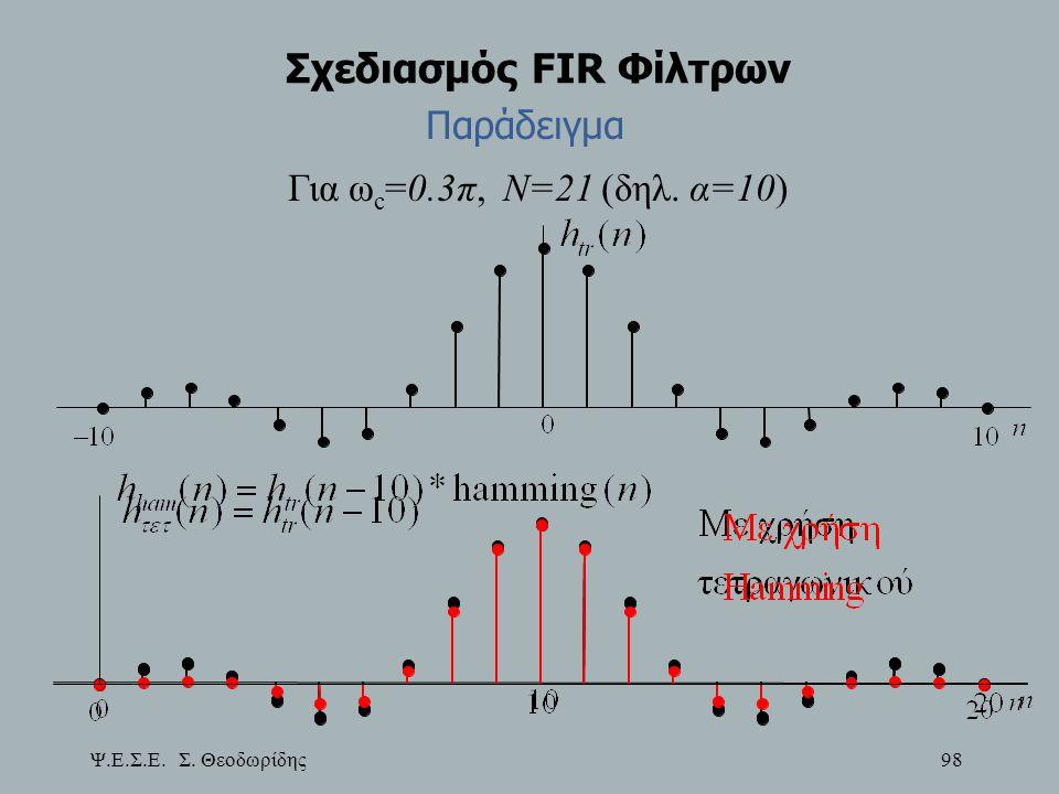 Ψ.Ε.Σ.Ε. Σ. Θεοδωρίδης 98 Σχεδιασμός FIR Φίλτρων Για ω c =0.3π, Ν=21 (δηλ.  α=10) Παράδειγμα