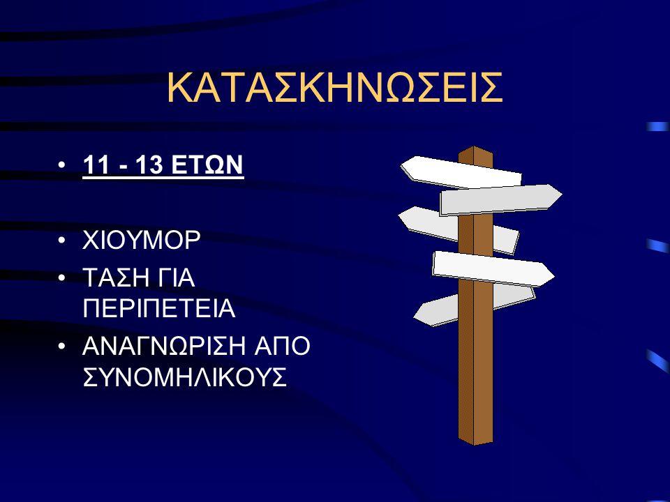 ΚΑΤΑΣΚΗΝΩΣΕΙΣ 11 - 13 ΕΤΩΝ ΧΙΟΥΜΟΡ ΤΑΣΗ ΓΙΑ ΠΕΡΙΠΕΤΕΙΑ ΑΝΑΓΝΩΡΙΣΗ ΑΠΟ ΣΥΝΟΜΗΛΙΚΟΥΣ