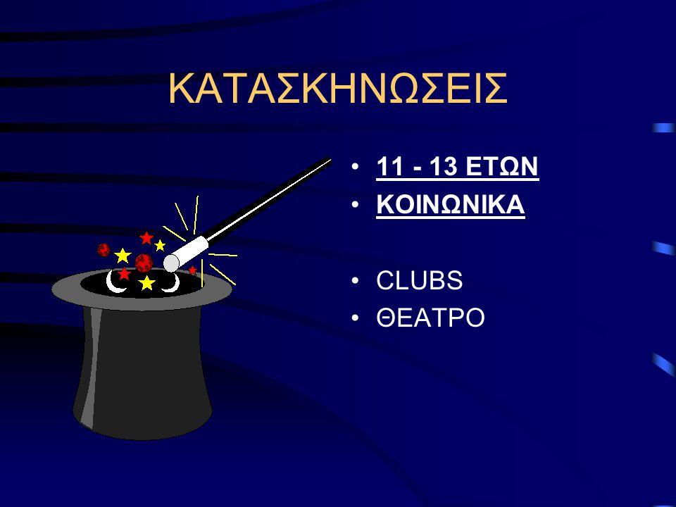 ΚΑΤΑΣΚΗΝΩΣΕΙΣ 11 - 13 ΕΤΩΝ ΚΟΙΝΩΝΙΚΑ CLUBS ΘΕΑΤΡΟ
