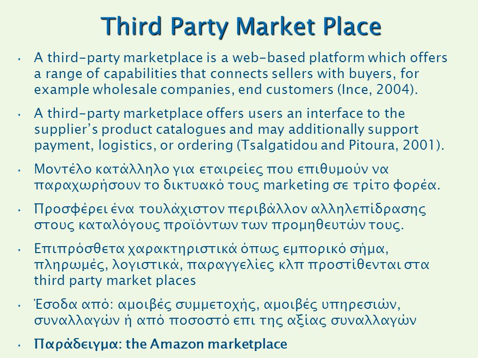 Third Party Market Place A third-party marketplace is a web-based platform which offers a range of capabilities that connects sellers with buyers, for