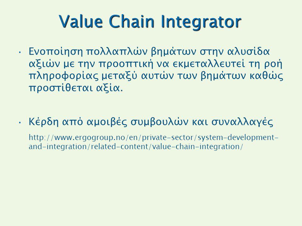 Value Chain Integrator Ενοποίηση πολλαπλών βημάτων στην αλυσίδα αξιών με την προοπτική να εκμεταλλευτεί τη ροή πληροφορίας μεταξύ αυτών των βημάτων κα