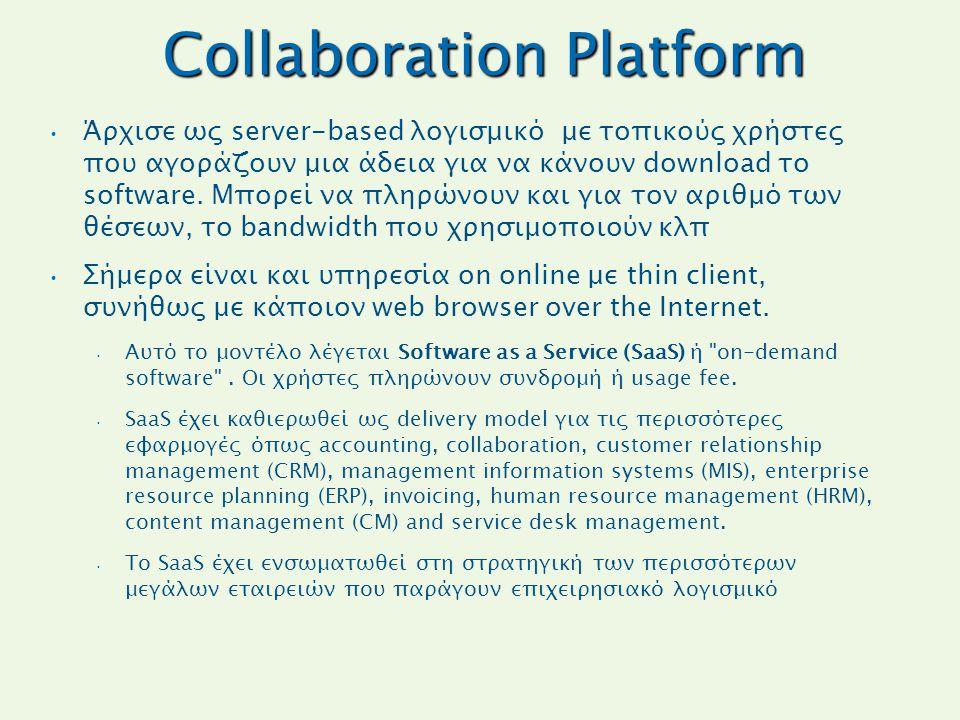 Collaboration Platform Άρχισε ως server-based λογισμικό με τοπικούς χρήστες που αγοράζουν μια άδεια για να κάνουν download το software. Μπορεί να πληρ
