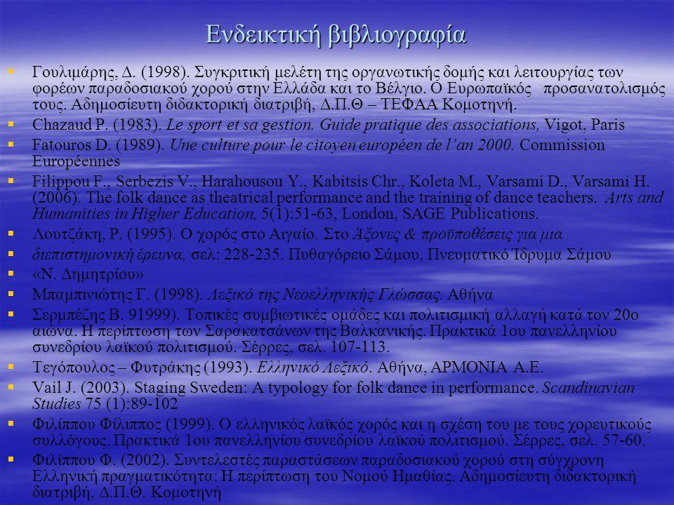 Ενδεικτική βιβλιογραφία   Γουλιμάρης, Δ. (1998).
