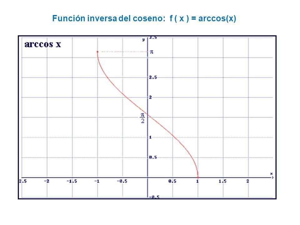 Función inversa del coseno: f ( x ) = arccos(x)