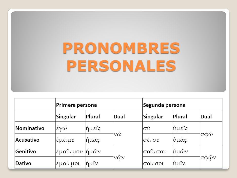 PRONOMBRES PERSONALES Primera personaSegunda persona SingularPluralDualSingularPluralDual Nominativo γμες ν σύμες σφ Acusativo μέ͵μεμςσέ͵ σεμς Genitiv