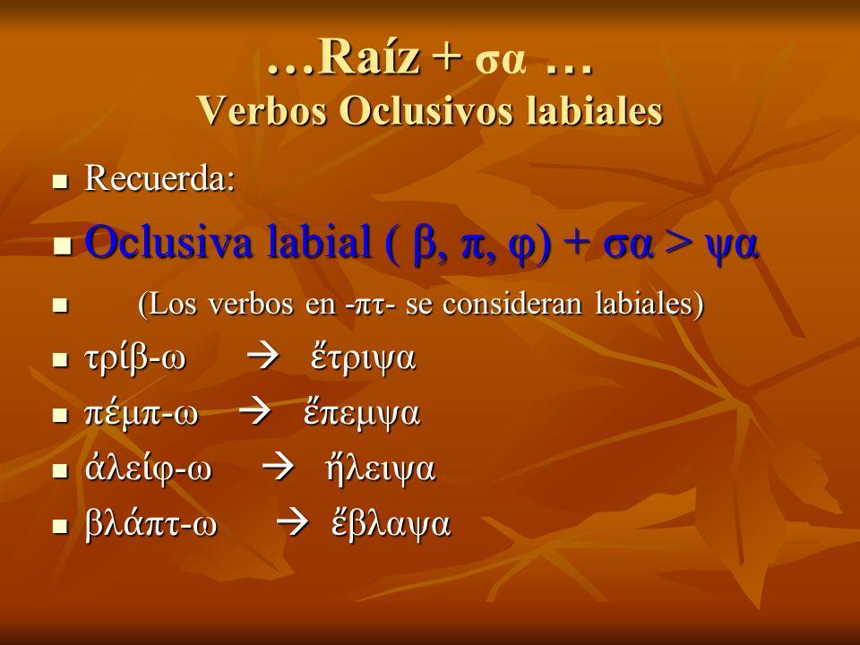 …Raíz + … Verbos Oclusivos labiales …Raíz + σα … Verbos Oclusivos labiales Recuerda: Recuerda: Oclusiva labial ( β, π, φ) + σα > ψα Oclusiva labial ( β, π, φ) + σα > ψα (Los verbos en -πτ- se consideran labiales) (Los verbos en -πτ- se consideran labiales) τρ β-ω τριψα τρ β-ω τριψα π μπ-ω πεμψα π μπ-ω πεμψα λε φ-ω λειψα λε φ-ω λειψα βλ πτ-ω βλαψα βλ πτ-ω βλαψα