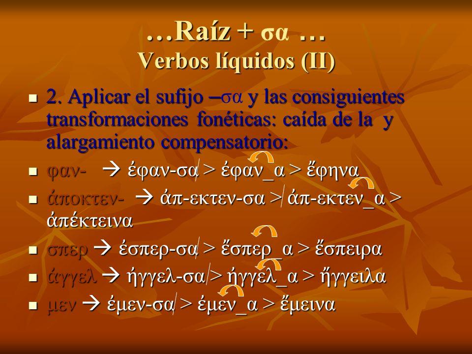 …Raíz + … Verbos líquidos (II) …Raíz + σα … Verbos líquidos (II) 2. Aplicar el sufijo – y las consiguientes transformaciones fonéticas: caída de la y