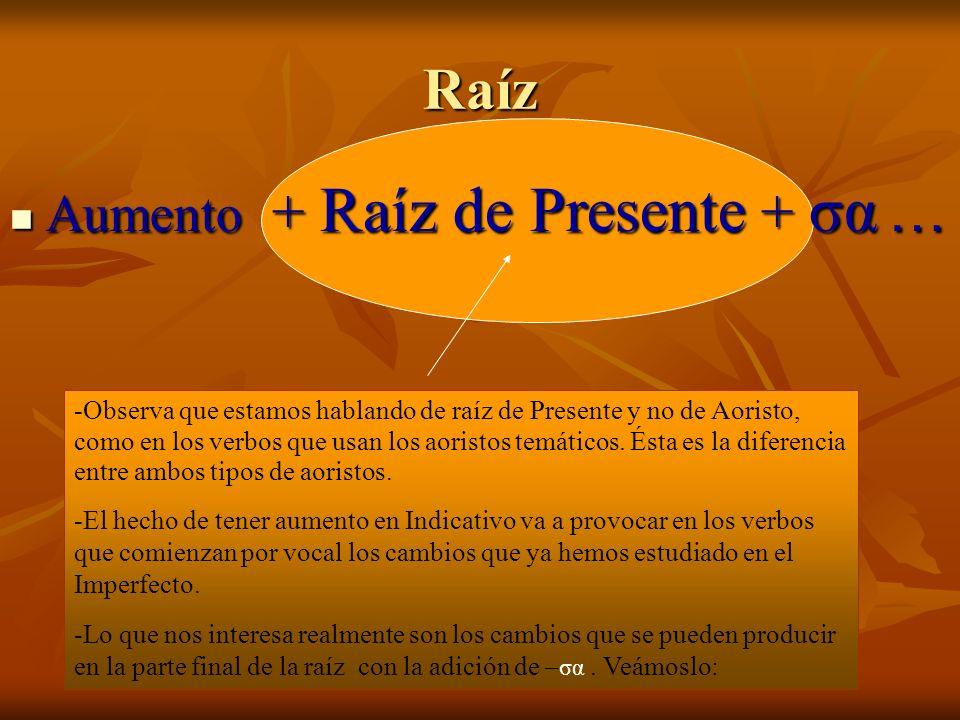 Raíz Aumento + Raíz de Presente + σα … Aumento + Raíz de Presente + σα … -Observa que estamos hablando de raíz de Presente y no de Aoristo, como en los verbos que usan los aoristos temáticos.