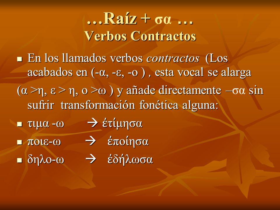 …Raíz + … Verbos Contractos …Raíz + σα … Verbos Contractos En los llamados verbos contractos (Los acabados en (-α, -ε, -ο ), esta vocal se alarga En los llamados verbos contractos (Los acabados en (-α, -ε, -ο ), esta vocal se alarga (α >η, ε > η, ο >ω ) y añade directamente – sin sufrir transformación fonética alguna: (α >η, ε > η, ο >ω ) y añade directamente –σα sin sufrir transformación fonética alguna: τιμα -ω τ μησα τιμα -ω τ μησα ποιε-ω πο ησα ποιε-ω πο ησα δηλο-ω δ λωσα δηλο-ω δ λωσα