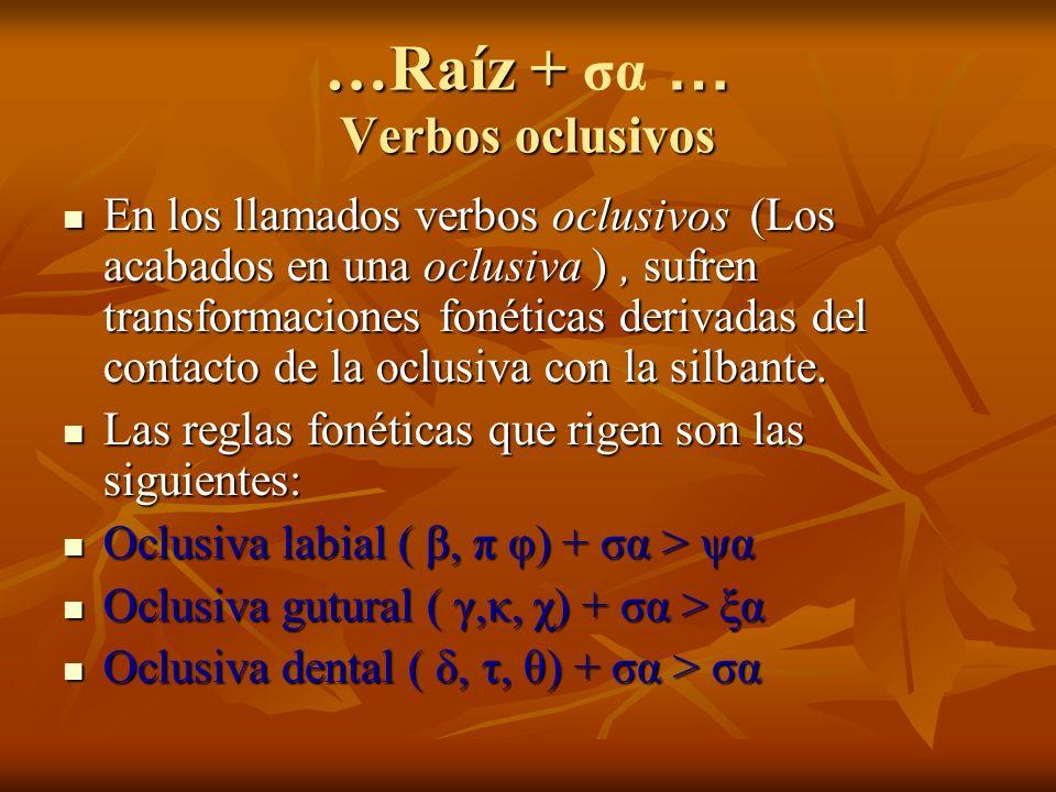 …Raíz + … Verbos oclusivos …Raíz + σα … Verbos oclusivos En los llamados verbos oclusivos (Los acabados en una oclusiva ), sufren transformaciones fonéticas derivadas del contacto de la oclusiva con la silbante.