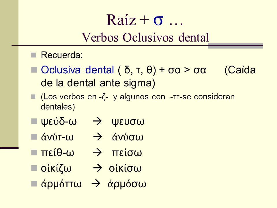 Raíz + σ … Verbos Oclusivos dental Recuerda: Oclusiva dental ( δ, τ, θ) + σα > σα (Caída de la dental ante sigma) (Los verbos en -ζ- y algunos con -ττ-se consideran dentales) ψε δ-ω ψευσω ν τ-ω ν σω πε θ-ω πε σω ο κ ζω ο κ σω ρμ ττω ρμ σω