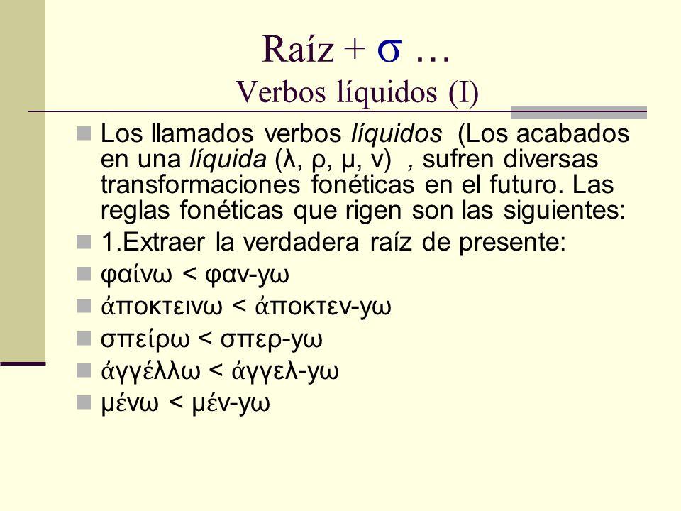 Raíz + σ … Verbos líquidos (I) Los llamados verbos líquidos (Los acabados en una líquida (λ, ρ, μ, ν), sufren diversas transformaciones fonéticas en el futuro.