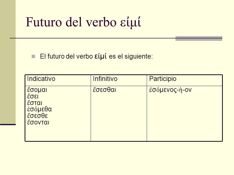 Futuro del verbo ε μ El futuro del verbo ε μ es el siguiente: σ μενος- -ον σεσθαι σομαι σει σται σ μεθα σεσθε σονται ParticipioInfinitivoIndicativo