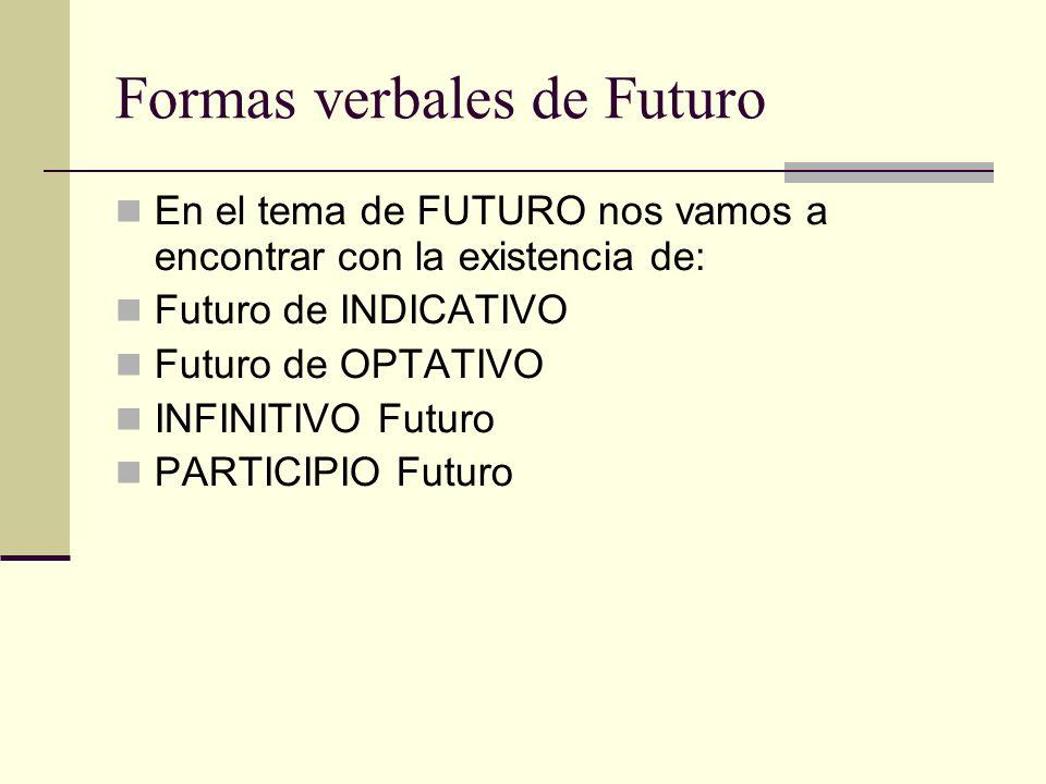 Formas verbales de Futuro En el tema de FUTURO nos vamos a encontrar con la existencia de: Futuro de INDICATIVO Futuro de OPTATIVO INFINITIVO Futuro P