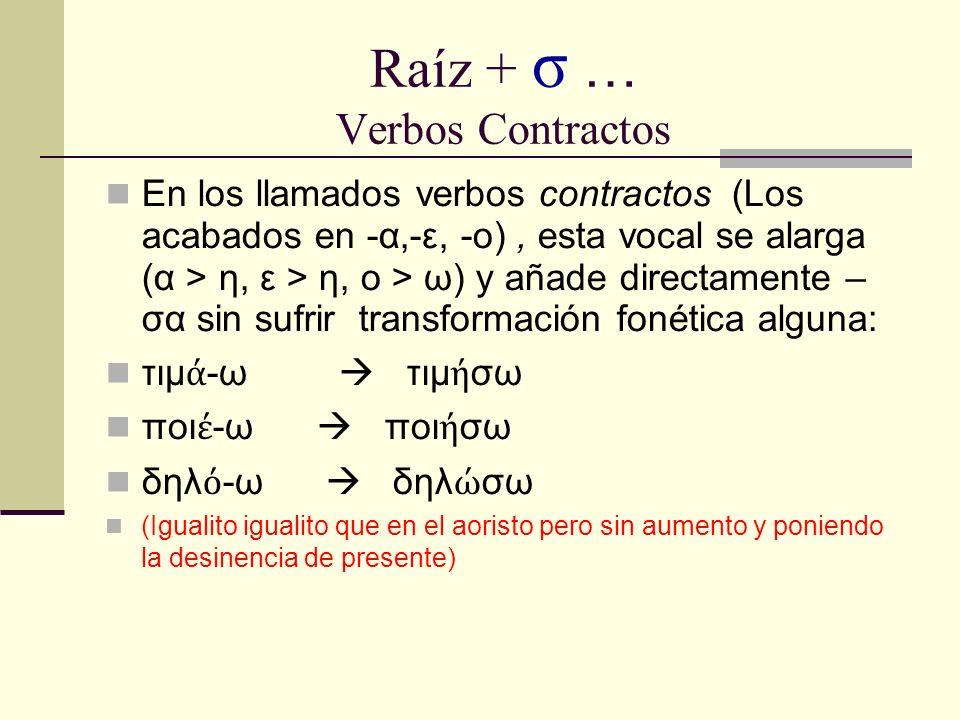 Raíz + σ … Verbos Contractos En los llamados verbos contractos (Los acabados en -α,-ε, -ο), esta vocal se alarga (α > η, ε > η, ο > ω) y añade directa