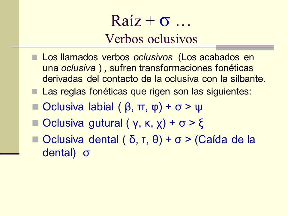 Raíz + σ … Verbos oclusivos Los llamados verbos oclusivos (Los acabados en una oclusiva ), sufren transformaciones fonéticas derivadas del contacto de