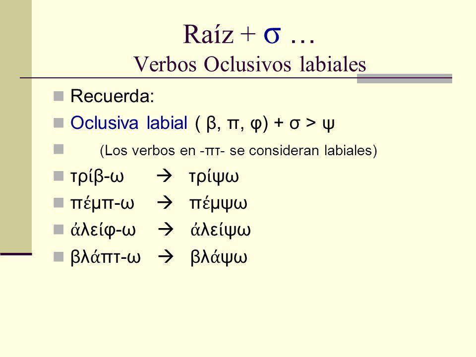 Raíz + σ … Verbos Oclusivos labiales Recuerda: Oclusiva labial ( β, π, φ) + σ > ψ (Los verbos en -πτ- se consideran labiales) τρ β-ω τρ ψω π μπ-ω π μψω λε φ-ω λε ψω βλ πτ-ω βλ ψω