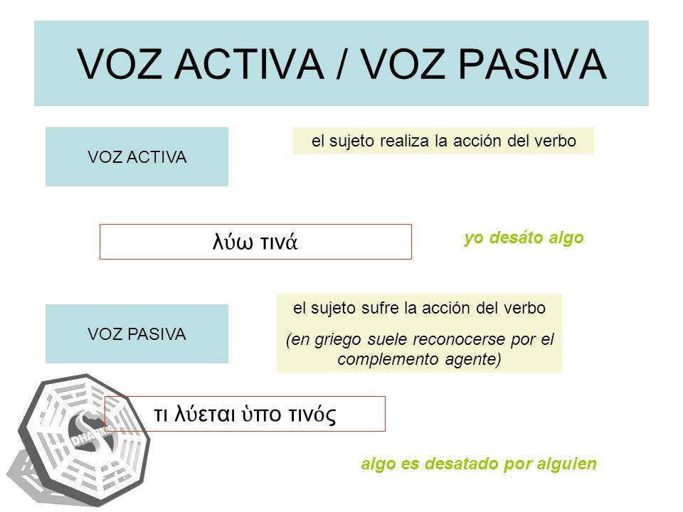VOZ ACTIVA / VOZ PASIVA VOZ ACTIVA el sujeto realiza la acción del verbo VOZ PASIVA el sujeto sufre la acción del verbo (en griego suele reconocerse p