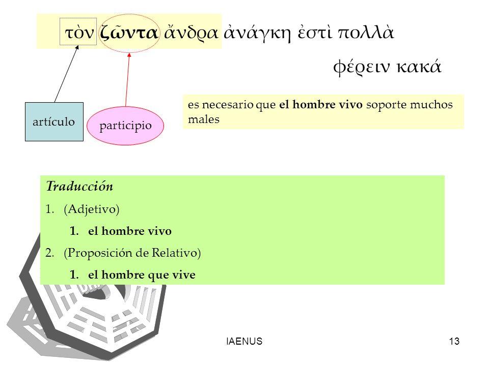 IAENUS13 es necesario que el hombre vivo soporte muchos males τν ζντα νδρα νγκη στ πολλ φρειν κακ artículo participio Traducción 1.(Adjetivo) 1.el hom
