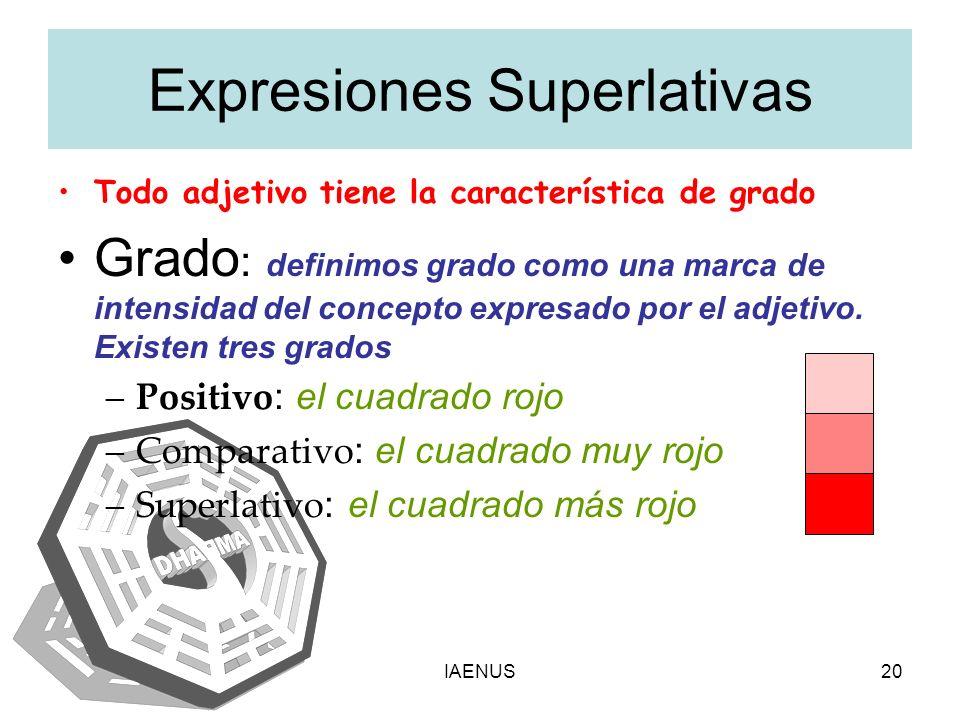IAENUS20 Expresiones Superlativas Todo adjetivo tiene la característica de grado Grado : definimos grado como una marca de intensidad del concepto exp
