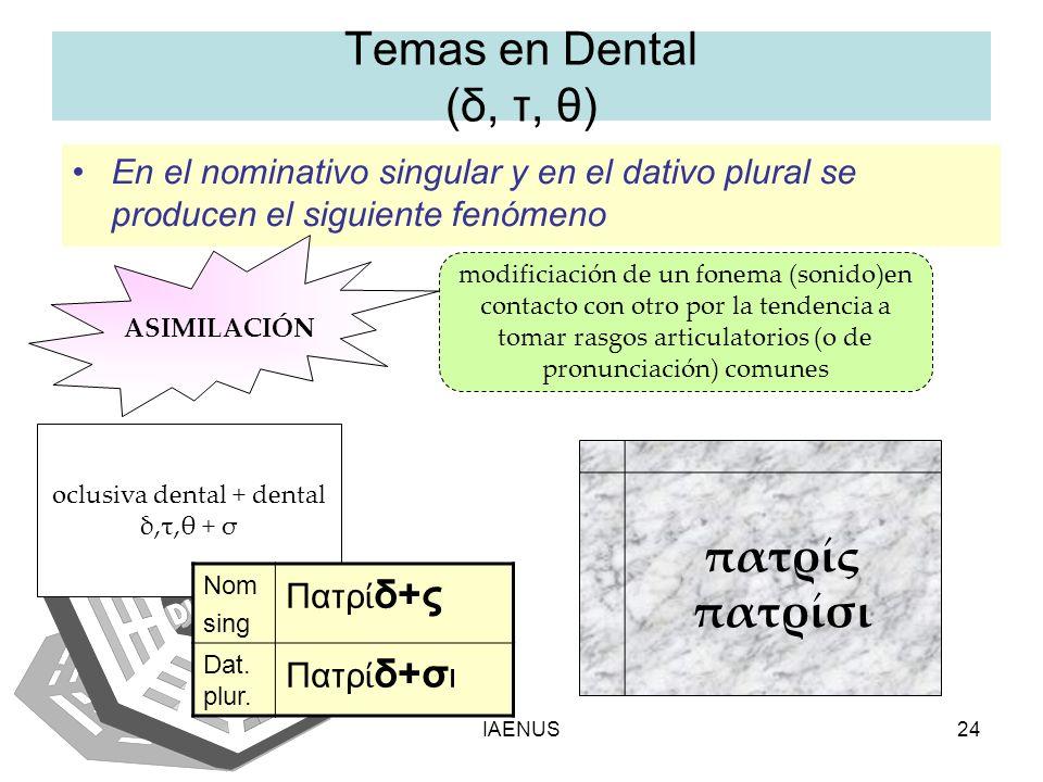 IAENUS24 Temas en Dental (δ, τ, θ) En el nominativo singular y en el dativo plural se producen el siguiente fenómeno ASIMILACIÓN modificiación de un f