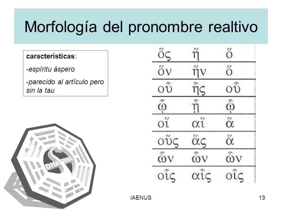 IAENUS13 Morfología del pronombre realtivo características: -espíritu áspero -parecido al artículo pero sin la tau