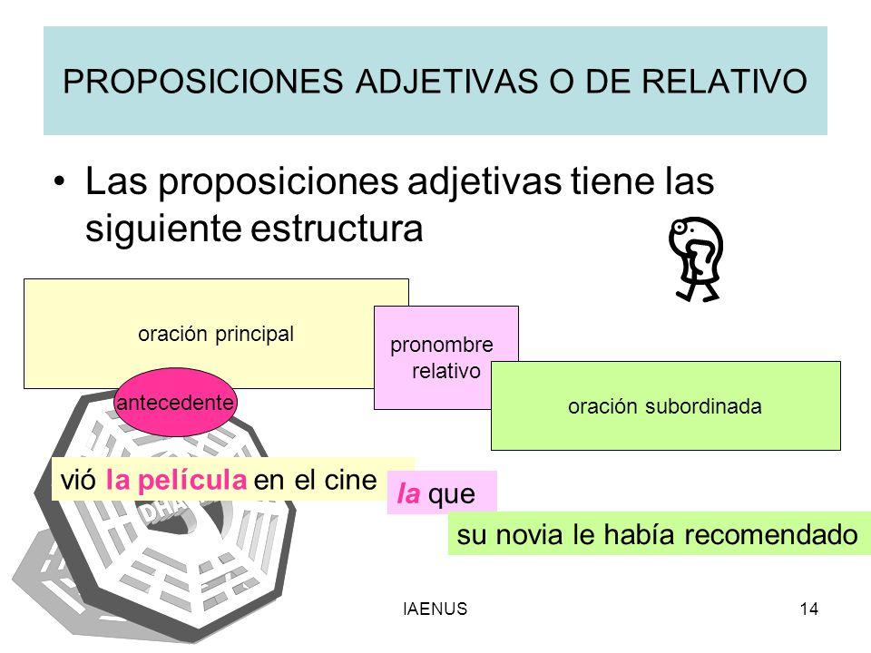IAENUS14 PROPOSICIONES ADJETIVAS O DE RELATIVO Las proposiciones adjetivas tiene las siguiente estructura oración principal antecedente pronombre rela