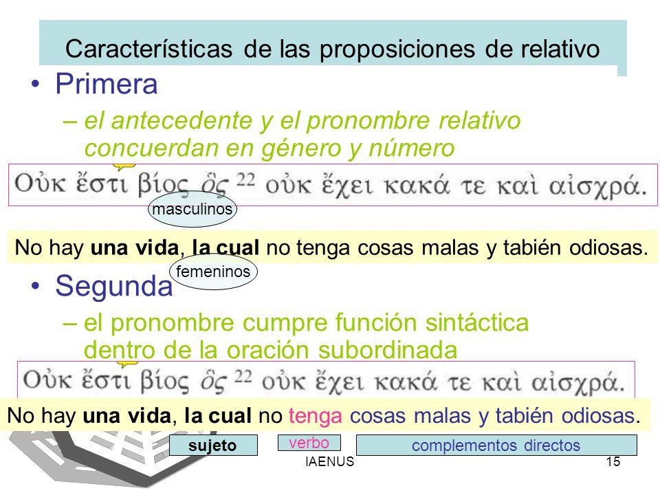 IAENUS15 Características de las proposiciones de relativo Primera –el antecedente y el pronombre relativo concuerdan en género y número Segunda –el pr