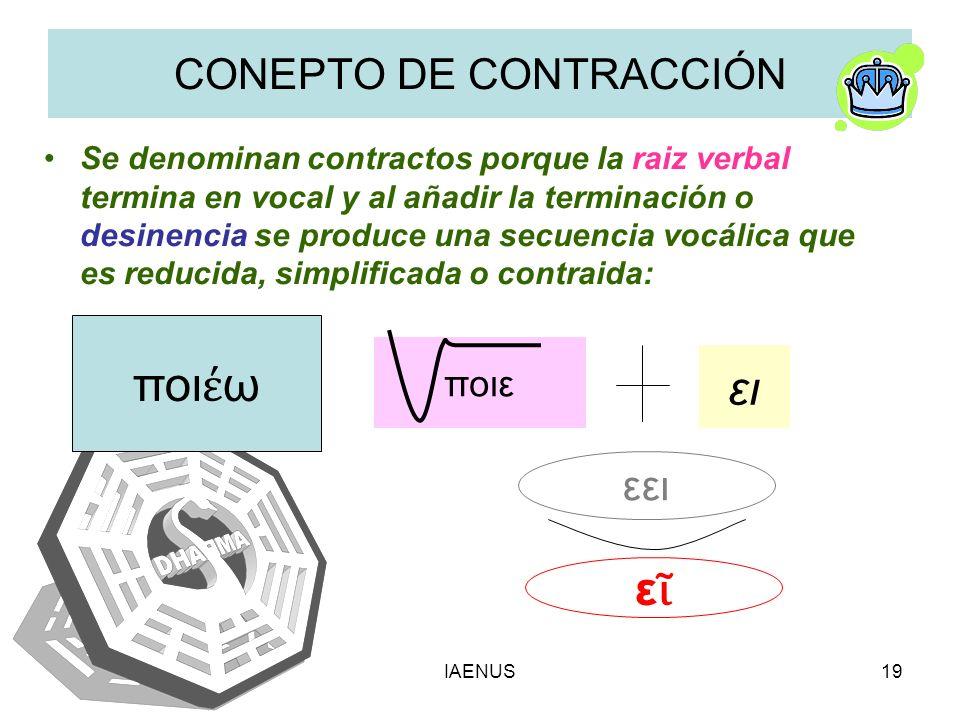 IAENUS19 CONEPTO DE CONTRACCIÓN Se denominan contractos porque la raiz verbal termina en vocal y al añadir la terminación o desinencia se produce una