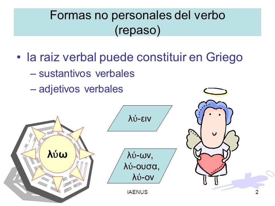 IAENUS2 Formas no personales del verbo (repaso) la raiz verbal puede constituir en Griego –sustantivos verbales –adjetivos verbales λ ω λ -ειν λ -ων,
