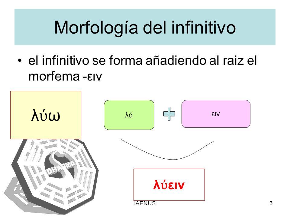 IAENUS3 Morfología del infinitivo el infinitivo se forma añadiendo al raiz el morfema -ειν λ ω λ ειν λ ειν