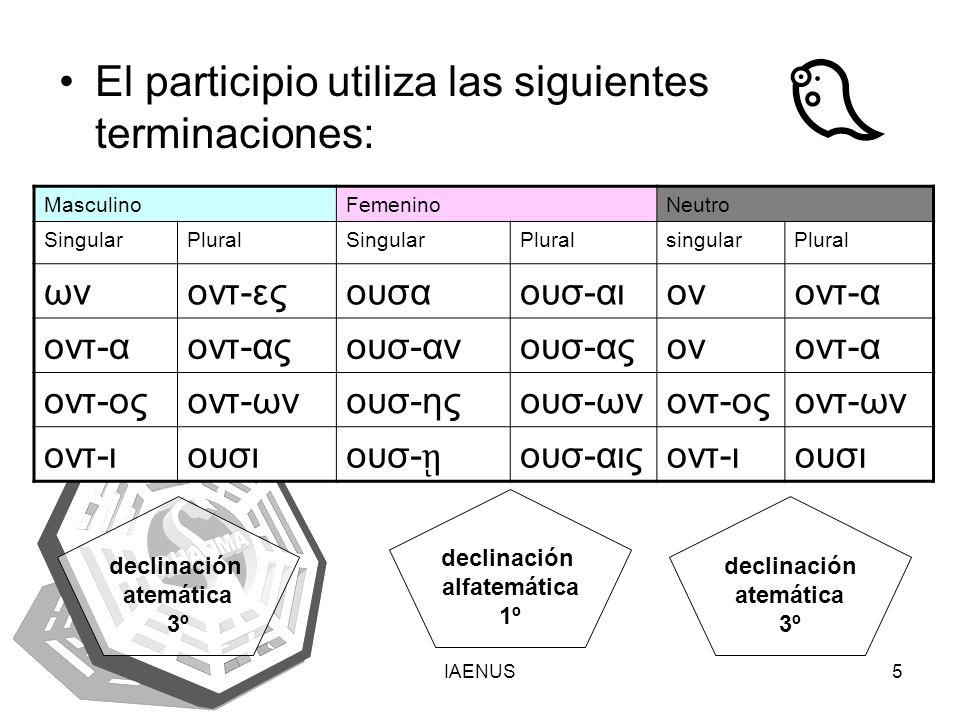 IAENUS5 Εl participio utiliza las siguientes terminaciones: MasculinoFemeninoNeutro SingularPluralSingularPluralsingularPlural ωνοντ-εςουσαουσ-αιονοντ