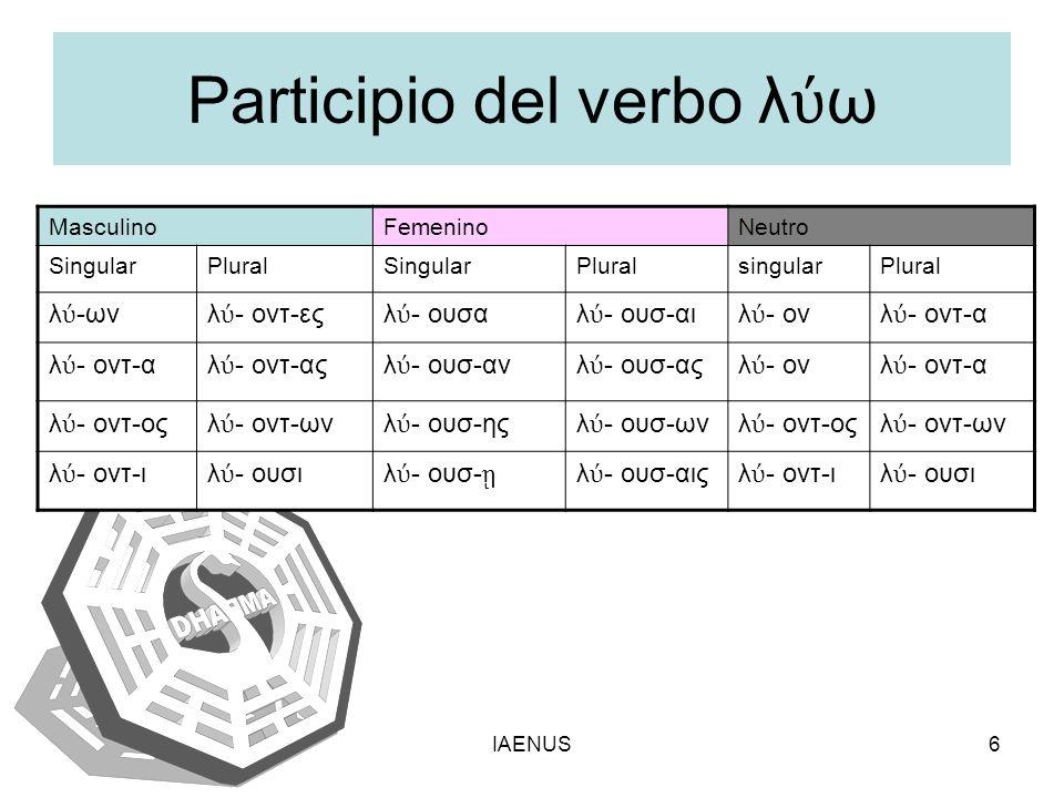 IAENUS6 Participio del verbo λ ω MasculinoFemeninoNeutro SingularPluralSingularPluralsingularPlural λ -ωνλ - οντ-εςλ - ουσαλ - ουσ-αιλ - ονλ - οντ-α λ